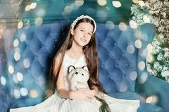 a girl sits on the couch in the Studio. New year and Christmas. Hugs dog toy royalty free stock photos