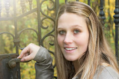 Portrait of long haired young woman outdoors Royalty Free Stock Images