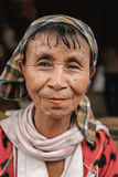 Portrait of long neck woman without rings, Myanmar Stock Photography