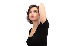 Portrait of looking up woman, isolated on white Royalty Free Stock Photos