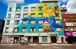 Portrait of Lorca on building in lower Manhattan stock images