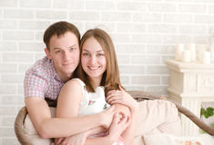 Portrait of love couple embracing looking happy Royalty Free Stock Photos