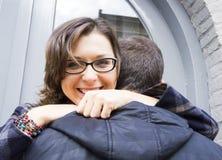 Portrait of love couple embracing outdoor. Looking happy Stock Image