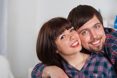 Portrait of love couple at home Royalty Free Stock Images