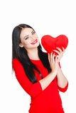 Portrait of Love and valentines day woman holding heart smiling Stock Images