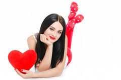 Portrait of Love and valentines day woman holding heart smiling Royalty Free Stock Images