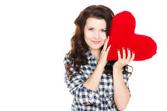 Portrait of Love and valentines day woman holding heart smiling cute and adorable isolated on white background. Beautiful woman in. Valentine's Day. Beautiful Royalty Free Stock Photography