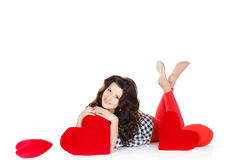 Portrait of Love and valentines day woman holding heart smiling cute and adorable isolated on white background. Beautiful woman in Stock Images