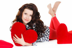 Portrait of Love and valentines day woman holding heart smiling cute and adorable isolated on white background. Beautiful woman in. Valentine's Day. Beautiful Royalty Free Stock Photos