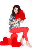 Portrait of Love and valentines day woman holding heart smiling cute and adorable isolated on white background. Beautiful woman in. Valentine's Day. Beautiful Stock Photography