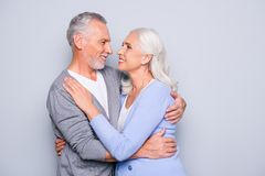 Portrait of lovely adorable cute happy senior couple, they are h royalty free stock photography