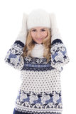Portrait of lovely beautiful girl posing in winter clothes isola Royalty Free Stock Photos
