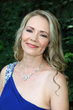 Portrait of Lovely blond lady in evening gown Stock Photo