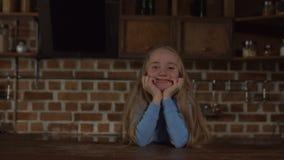 Portrait of lovely blonde little girl smiling stock video