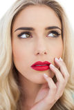 Portrait of a lovely blonde model looking away Royalty Free Stock Images