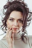 Portrait of lovely brunette woman Stock Images
