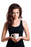 Portrait of lovely brunette woman having cup of tea Stock Photo