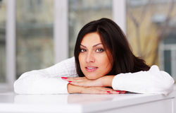 Portrait of lovely brunette woman Stock Image