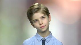 Portrait of lovely caucasian boy. stock video footage