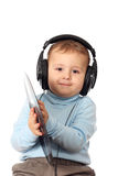Portrait of lovely child in headphones Stock Image