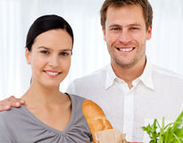 Portrait of a Lovely couple in h kitchen Stock Images