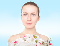 Portrait lovely cute girl with flowers Stock Photos