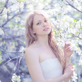 Portrait lovely cute girl in a spring Stock Photography