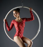 Portrait of lovely dancer posing on aerial hoop Stock Photos