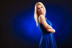 Portrait lovely girl long blond hair Stock Photo