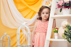 Portrait of lovely girl posing in vintage interior Royalty Free Stock Photography