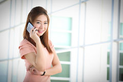 Portrait lovely girl type information with her mobile phone Royalty Free Stock Image