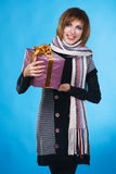 Portrait of lovely girl with Xmas gift Stock Image
