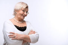 Portrait of lovely grandmother with her hands Stock Photography