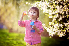 Portrait of  lovely little boy blowing soap bubbles Royalty Free Stock Photography