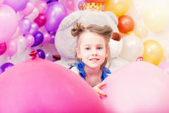 Portrait of lovely little girl posing in playroom Royalty Free Stock Photography