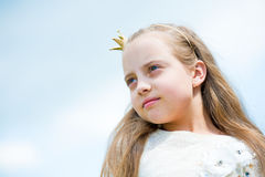 Portrait of a lovely little happy princess girl Stock Photos
