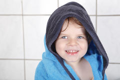 Portrait of lovely little toddler boy of two years with bath to stock photos