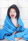 Portrait of lovely little toddler boy of two years  with bath to Stock Images