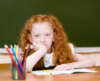 Portrait of lovely schoolgirl looking at camera Royalty Free Stock Image