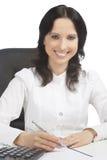 Portrait of lovely smiling brunette woman Stock Images