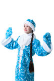 Portrait of lovely Snow Maiden, isolated on white Royalty Free Stock Image