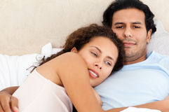 Portrait of a lovely woman hugging her boyfriend Royalty Free Stock Photo