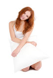 Portrait of lovely woman with pillow Stock Photography
