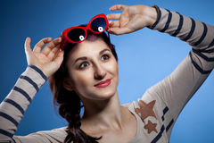 Portrait of the lovely woman in retro style Royalty Free Stock Image