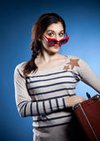 Portrait of the lovely woman  in retro style Royalty Free Stock Photography
