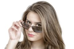 Portrait of lovely woman in sunglass Stock Images