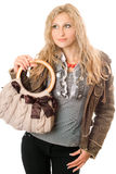 Portrait of lovely young blonde with a handbag Stock Photo