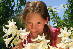 Portrait of the lovely young girl Stock Photos