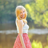 Portrait of lovely young girl in summer park Royalty Free Stock Image