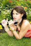 Portrait of lovely young lady Royalty Free Stock Photos